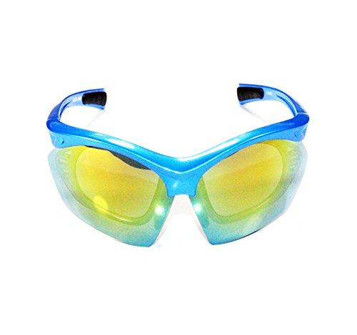GUB 6602 Blau Sonnenbrille Fahrradbrille Radbrille 4 Gläser u Tasche