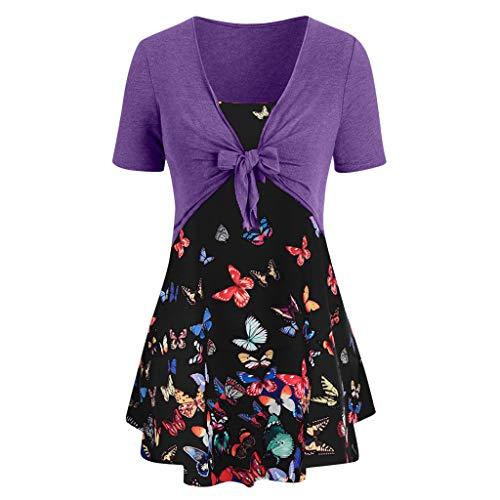 KI-8jcuD Women Knot Bandage Top Sunflower Print Vest Shirt Tank Blouse Tunic Petticoat Purple