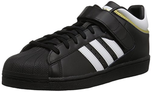 (adidas Originals Men's PRO Shell Running Shoe, Black/White/Gold Metallic, 13 M US)