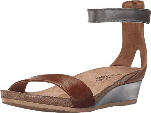 NAOT Women's Pixie Wedge Sandal, Maple Brown Combo, 40 EU/9 M US