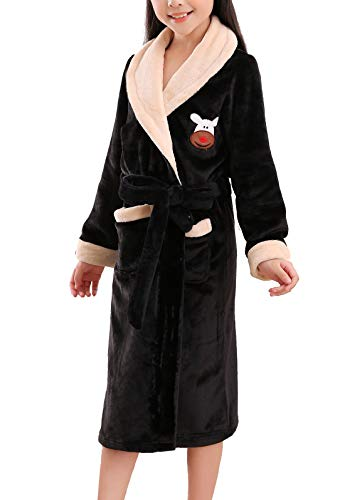 Boys Girls Flannel Bath Robe Breathable Towelling Gown Soft Terry Towel Housecoat with Pocket and Waist Belt Black