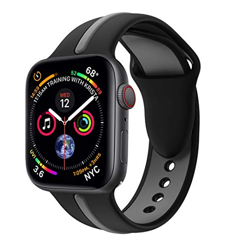 EloBeth iWatch Band 44mm 42mm, Soft Silicone Sport Replacement Wrist Strap Stripe Color Splicing Compatible Apple Watch Series 4/3/2/1 Nike+ Sport Edition Smart IWatch (Stripe-Black/Gray, 44/42mm)