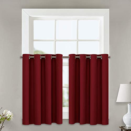 NICETOWN Blackout Curtains for Small Window - Thermal Insulated Eyelet Top Plain Blackout Curtains for Bathroom (Burgundy, 2 Pieces, 52 Width x 24 Length + 1.2 Header)