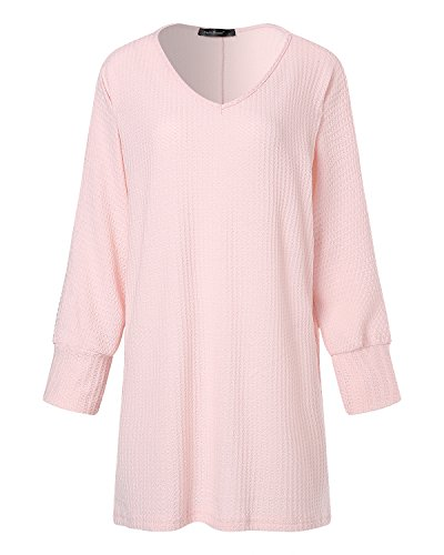 StyleDome Tops Femme Shirt Jumper Oversize Rose Blouse V Col Pull Casual Manches Longues Robe xEErqzfRwd