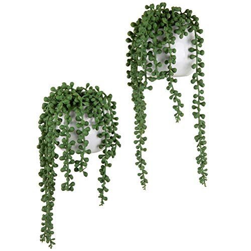 MyGift Artificial String of Pearls Plants in White Ceramic Wall-Hanging Planters, Set of 2