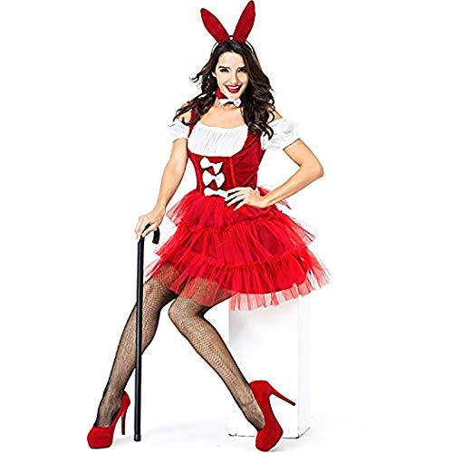 Halloween Adult Red Lady Women Sexy Bunny Costume Rabbit Girl Outfit Animal Cosplay Fancy Short Dress with -