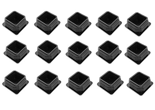 1'' Square Tubing Black Plastic Plug - 1 inch End Cap - Fence Post Pipe Cover Tube Chair Glide Insert Finishing Plug by Good news