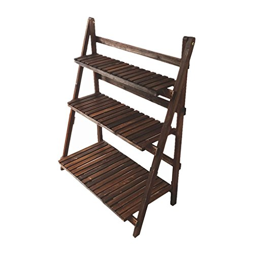 (DNSJB Wooden Flower Stand, Potted Flower Plant 3 Fold Folding Display Ladder Indoor and Outdoor Garden Balcony Wooden Frame 80L×38W×98H (cm), 31.5L×15W×38.6H)