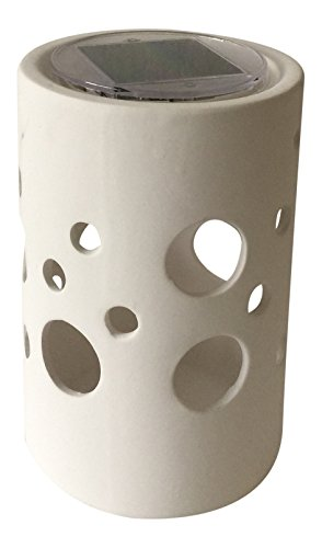 SINTECHNO SYA-1310 Solar Powered Ceramic Table Lamp with Cheese Holes Pattern by SINTECHNO