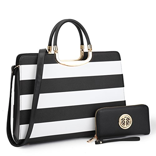 Patent Leather Satchel Handbag Designer Purse Wallet Set Striped Shoulder Bag Black and White (Striped Womens Handbag)