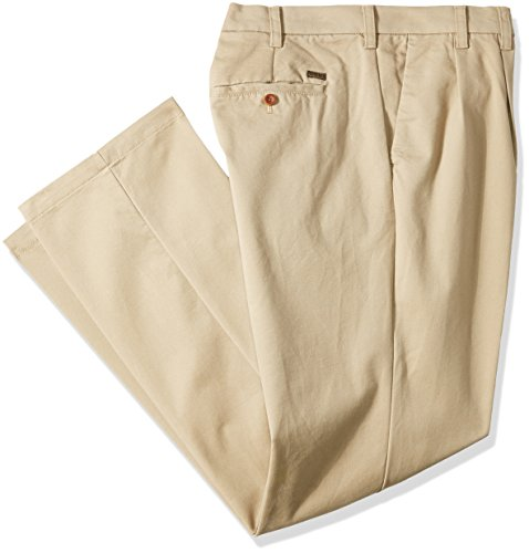 IZOD Men's Big and Tall Performance Stretch Pleated Pant, Cederwood Khaki, 54W X 29L