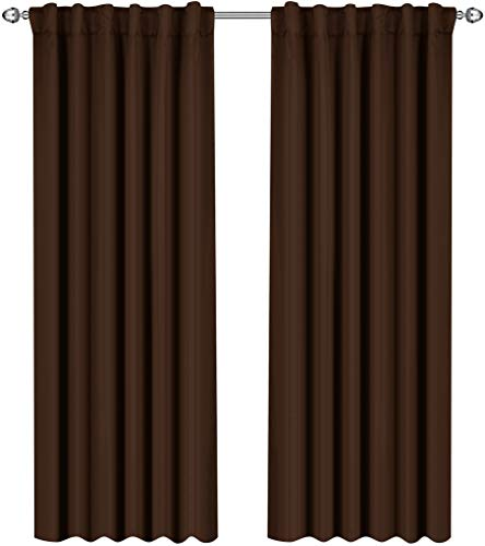 (Utopia Bedding Blackout Room Darkening and Thermal Insulating Window Curtains/Panels/Drapes - 2 Panels Set - 7 Back Loops per Panel - 2 Tie Backs Included (Chocolate, 52 x 84))