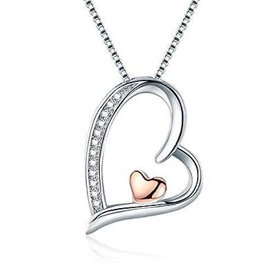 827c266014e5 Collier cœur Colliers Bijoux pour femme Argent sterling Pendentif cadeaux  pour femme avec chaîne pour femme