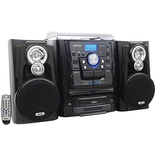 Jensen JMC1250 Bluetooth 3-Speed Stereo Turntable and 3 CD Changer with Dual Cassette Deck (Used Stereo Turntable)