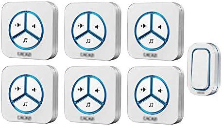 ウォールプラグインコードレスドアチャイム、ワイヤレス防水ドアベルチャイムキット、48トーン900フィートレンジ6ボリュームレベル(1ボタンと6レシーバー),白