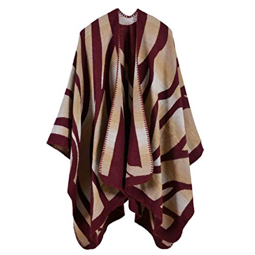 Women's Scarf Shawl Faux Cashmere Long Wrap Poncho Blanket Spring Autumn Red(Wine)