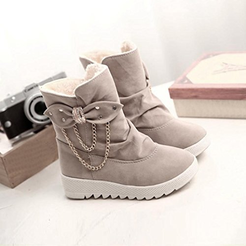 LuckyBB Women's Winter Boots Casual Bow Tie Knee Riding Snow Martin Boots Khaki cfKr2