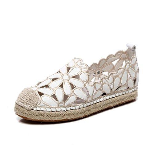 di in Hollow Sandals Canapa Primavera Morbida Womens Pelle Handmade Sportive Corda Traspiranti Estate Bianca Scarpe Suola Scarpe 6z5xwfq
