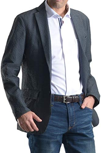 【MARUTOMI】ジャケット メンズ ビジネス アウター ポリエステル素材ノッチドラペル 2ツボタンジャケット 2Bジャケット シアサッカー お洒落 ジャケパン アンコン JK51