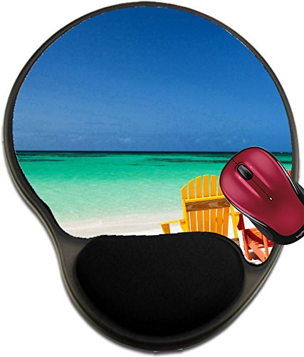 Liili Mousepad wrist protected Mouse Pads/Mat with wrist support design IMAGE ID: 33427748 Colorful adirondack yellow and orange lounge chairs at tropical beach in Caribbean with beautiful turquoise