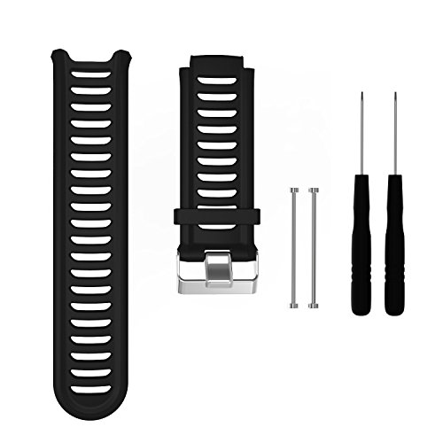 Band for Garmin Forerunner 910XT Watch, Silicone Wristband Replacement Watch Band for Garmin Forerunner 910XT (Black)