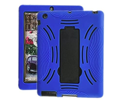 Rugged Shockproof Silicone Protective 3 in1 Case Cover For 9.7 inches Apple iPad Air 2nd model : MGKL2LL/A, MH0W2LL/A, A1566 , A1567, 16 GB, 32 GB, 64 GB, 128 GB ( Blue + (Ipad Air 2 Cover Printed)