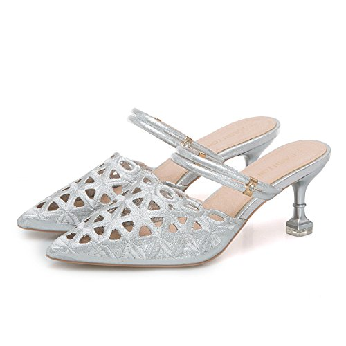 VIVIOO Tacón Alto Zapatos De Vestir De Tacón Alto Zapatillas De Mujer Zapatos De Tacón Alto Sandalias De Punta Estrecha Diapositivas De Mujer Zapatillas De Tacón Fino Silver