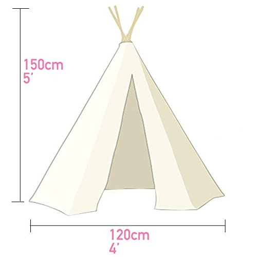 Kids Teepee Tent for Boys, Children Play Tent for Indoor & Garden, (Grey Chevron 150cm Tall) by Tiny Land TINY LAND INC.