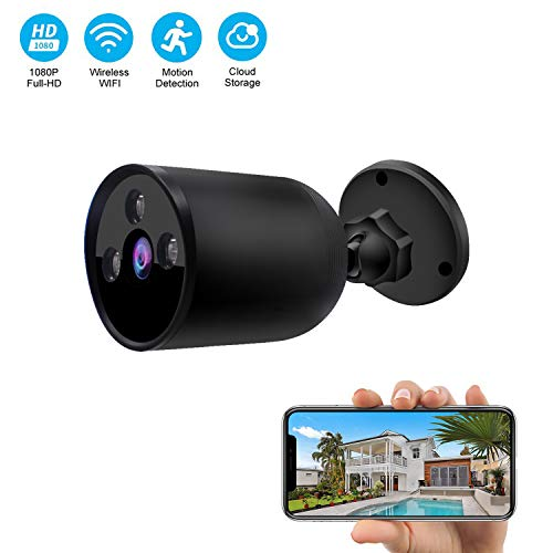 Outdoor WiFi Security Camera 1080P 2.4G WiFi Night Vision Security Cameras with Two-Way Audio,Cloud Storage, IP66 Waterproof, Motion Detection, Activity Alert, Deterrent Alarm (Black)