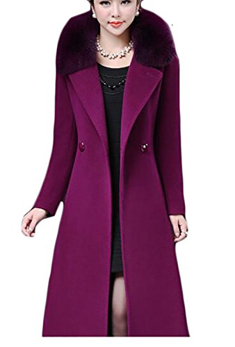 Womens Fur Winter Trench Blend today Full Parka Coat UK Long Purple Wool length Collar Faux 5zqnf4HEnw