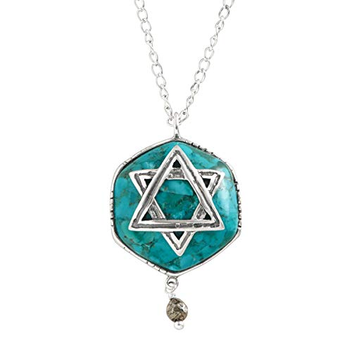 (Silpada 'Mazel Tov' Compressed Turquoise & Pyrite Star of David Pendant Necklace in Sterling Silver)