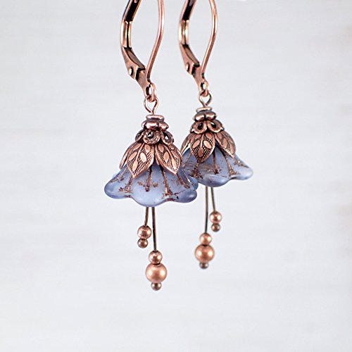 [Denim Blue Fairy Flower Leverback Earrings with Czech Glass and Copper Costume Jewelry] (Czech Costumes Jewelry)