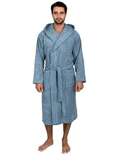 Robe Blue Hooded (TowelSelections Men's Robe, Turkish Cotton Hooded Terry Bathrobe Medium/Large Blue Shadow)