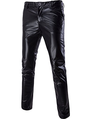 ZEROYAA Mens Night Club Metallic Gold Suit Pants/Straight Leg Trousers 30/Tag Asian L Black