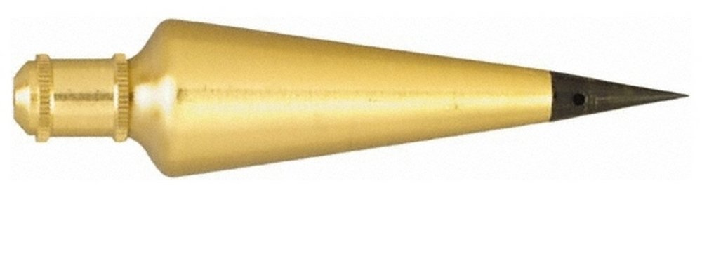 4-3/8 Inch Long, 1-1/8 Inch Diameter Brass Plumb Bob 12 Ounce, Has Replacable Tip