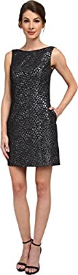 Aidan Mattox Womens Sleeveless Foil Jacquard Dress