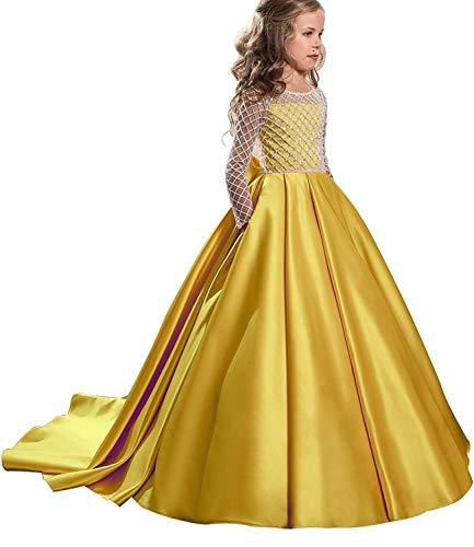 vimans Wedding Ball Gown Long Sleeve Flower First Communion Girl Dresses Child 8 Yellow]()