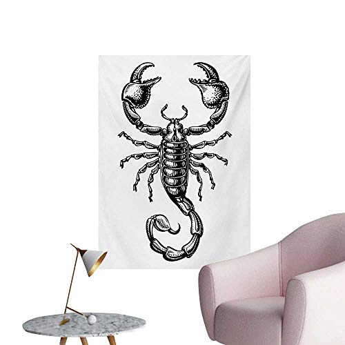 Anzhutwelve Zodiac Scorpio Wall Sticker Decals Monochrome Sign Sketch Art of a Scorpion Tattoo Animal Horoscopes ThemeBlack and White W24 xL32 Wall Poster