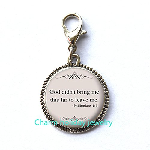 Bible Quote Fashion Zipper Pull – Christian Zipper Pull – Religious Jewelry- Silver Motivational Jewelry Gift for Women and Girls.D0104