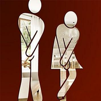 Adesivo da parete per bagni e wc,uomo e donna in acrilico a ...