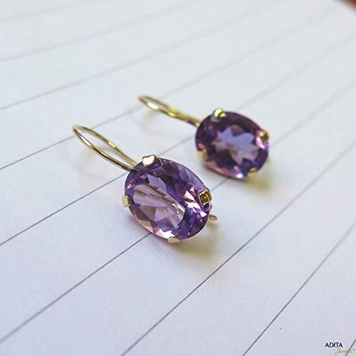 - 14K Gold Purple Amethyst Dangle Earrings - 14K Solid Yellow Gold Oval Shape Drop Earrings, 8x10mm Genuine Natural Elliptic Oval Amethyst Gemstone Jewelry - Simple Handmade Gift for Classy Women