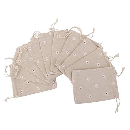 - Natural Jute Bag 10pcs Linen Jute Burlap Small Simple Sack Pouch Drawstring Gift Bag 10 x 14cm Daisy Flower Bag Wedding Favor