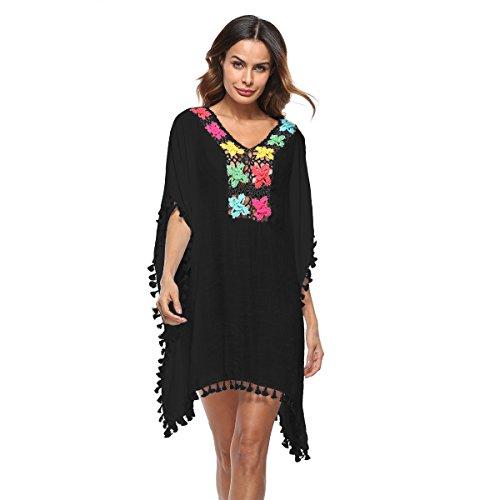 Bonvince Womens Bathing Suit Cover Ups Cotton Tassel Crochet Trim Bikini Swimsuit Beach Cover Ups Black (Cover Trim Crochet)
