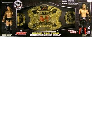 WWE Championship Belts Tag Team Belt with Randy Orton and Edge Action Figure Set by WWE