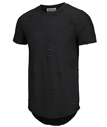 KLIEGOU Mens Hipster Hip Hop Ripped Round Hemline hole T Shirt(1705) (Large, Black)