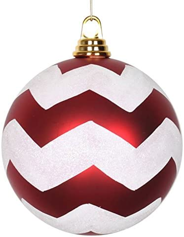 """Christmas Peppermint Red White Shatterproof Ornaments XLARGE 6/"""" Set of 4"""