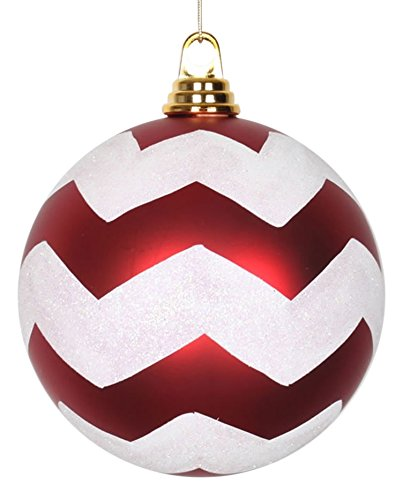 Vickerman Red Matte with White Glitter Chevron Commercial Size Christmas Ball Ornaments 6 (150mm)