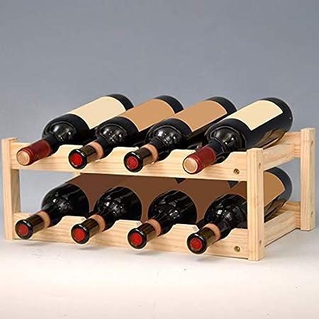 ZHIFENGLIU 2 Piezas Estante for Vinos,Botelleros De Madera para Vino U Otras Bebidas, Vinoteca De Madera para 8 Botellas