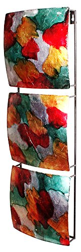Century Fireplaces 18th (Heather Ann Creations 3 Wavy Square Panels Metal Hanging Wall Art, 24.5
