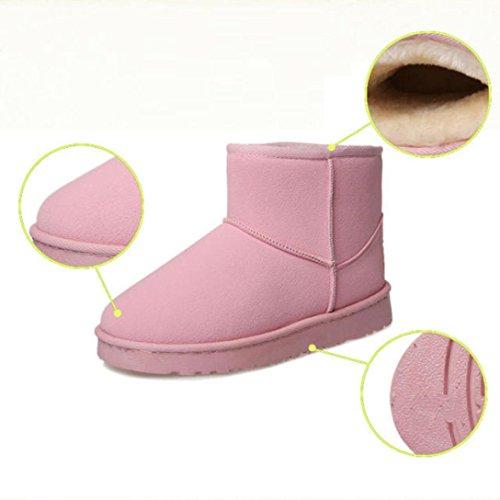 AMA(TM) Women Fur Lined Winter Snow Boot Flat Ankle Boots Shoes Pink 2TUwAmh1t
